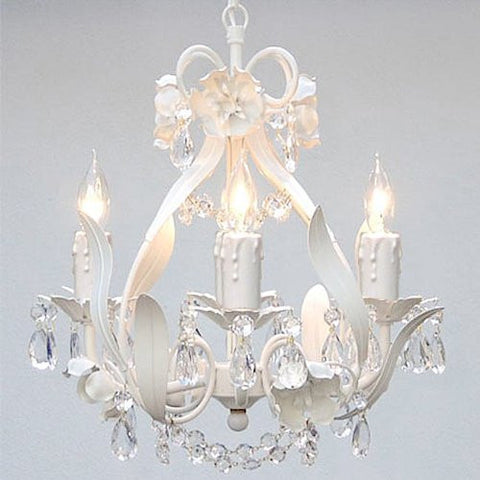 "Swarovski Crystal Trimmed Chandelier Wrought Iron Floral Chandelier Crystal Flower Chandeliers Lighting H15"" X W11"" - A7-White/Cl/326/4Sw"