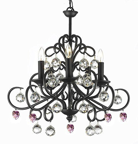 "Bellora Crystal Wrought Iron Chandelier Lighting Empress Crystal (Tm) With Faceted Crystal Balls And Pink Hearts H 22"" W 20"" - A7-B21/586/5"