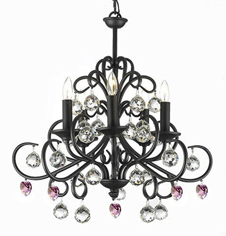 "Bellora Crystal Wrought Iron Chandelier Lighting Empress Crystal (Tm) With Faceted Crystal Balls And Pink Hearts H 22"" W 20"" - J10-B21/26070/5"