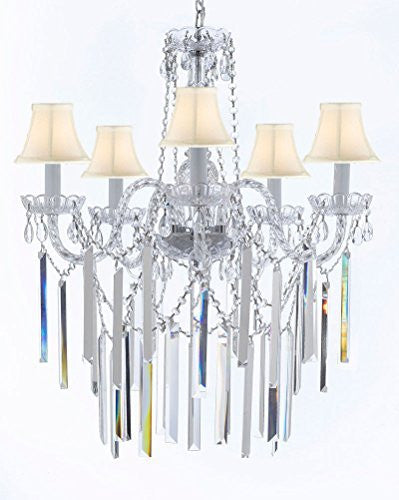 "Authentic All Empress Crystal (Tm) Chandelier Lighting Optical-Quality Fringe Prisms With White Shades! H30"" X W24"" - G46-B40/Sc/Whiteshades/3/384/5"