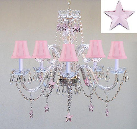 "Empress Crystal(Tm) Chandelier Lighting With Pink Crystal Stars H25"" X W24"" - Nursery Kids Girls Bedrooms Kitchen Etc - Go-A46-Pinkshades/B38/387/5/Pink"