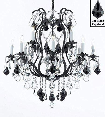 "Wrought Iron Crystal Chandelier Lighting Chandeliers H36"" x W36"" Dressed with Jet Black Crystals! - A83-B20/3034/10+5"