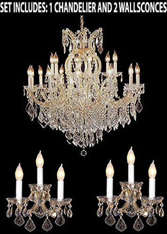 Three Piece Lighting Set - Maria Theresa Crystal Chandelier And 2 Wall Sconces - 1Ea 1/21510/15+1 + 2Ea CG/26080/3