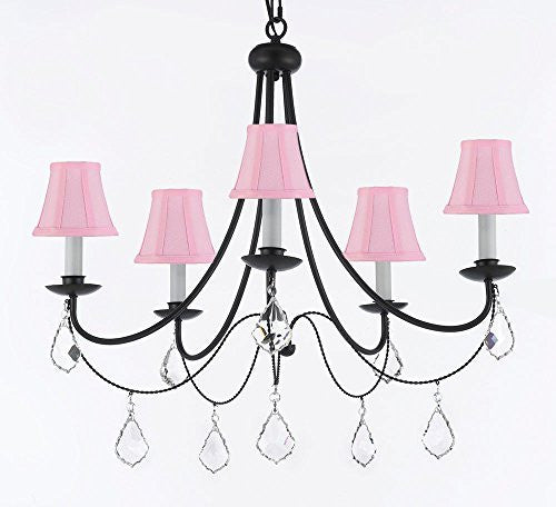 "Empress Crystal (Tm) Wrought Iron Chandelier Lighting H.22.5"" X W.26"" With Pink Shades - A7-Sc/Pinkshades/B7/403/5"