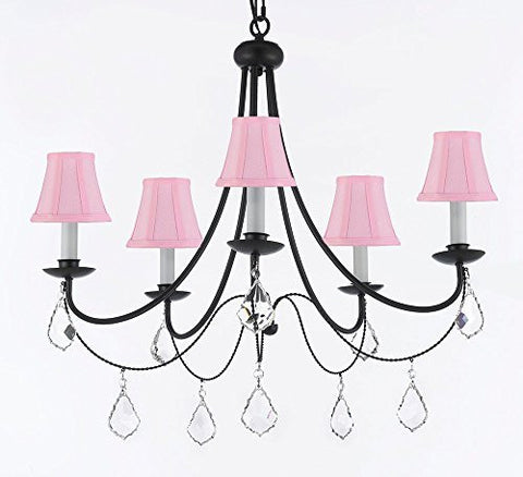 "Empress Crystal (Tm) Wrought Iron Chandelier Lighting H.22.5"" X W.26"" With Pink Shades - J10-Sc/Pinkshades/B7/26031/5"