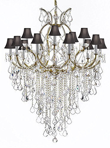 "Maria Theresa Chandelier Empress Crystal (Tm) Lighting Chandeliers H50"" X W37"" with Black Shades! Great for Large Foyer / Entryway! - A83-B12/SC/Blackshades/21510/15+1"