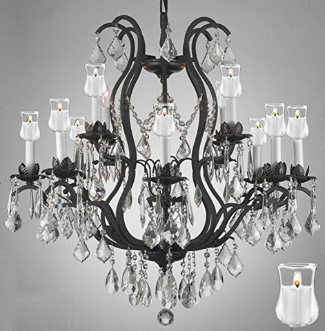 "Wrought Iron Crystal Chandelier Lighting Chandeliers With Candle Votives H30"" X W28"" - Go-A83-B31/3034/8+4"