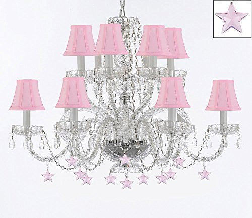 Murano Venetian Style All Empress Crystal (Tm) Chandelier With Stars And Shades - A46-B38/Sc/Pinkshades/385/6+6