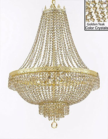 "French Empire Crystal Chandelier Lighting - Dressed With Golden Teak Color Crystals Great For A Dining Room Entryway Foyer Living Room H30"" X W24"" - F93-B78/Cg/870/9"