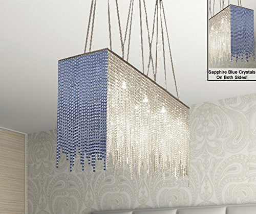 "10 Light Modern / Contemporary Dining Room Chandelier Rectangular Chandeliers Lighting Dressed With Sapphire Blue Crystal 28"" X 36"" - G902-B86/1114/10"
