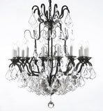 "Swarovski Crystal Trimmed Chandelier Wrought Iron Crystal Chandelier H33"" X W27"" - A83-3003/16Sw"