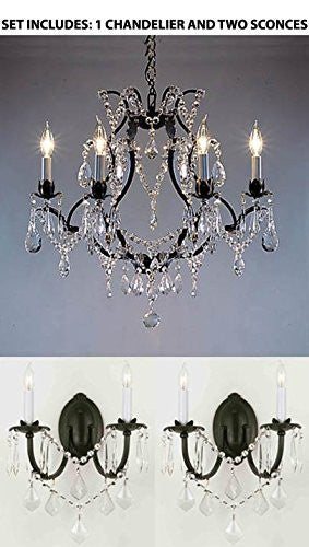 "Three Piece Lighting Set - Wrought Iron Crystal Chandelier Lighting H18"" X W19"" And 2 Wall Sconces - 1Ea 3030/6 + 2Ea 2/3034/Wallsconce"