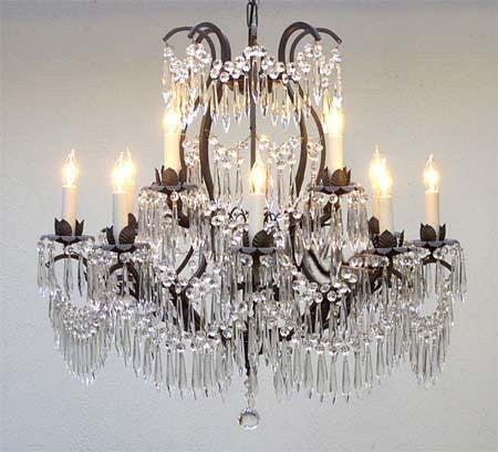 "Wrought Iron Crystal Chandelier Lighting H28"" X W30"" - Go-A83-U/3034/8+4"