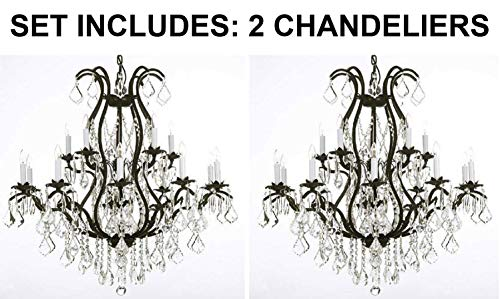 "Set of 2 - Wrought Iron Chandelier Crystal Chandeliers Lighting H36"" X W36"" - 2EA 3034/10+5"