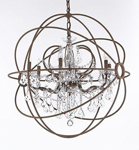 "Wrought Iron Empress Crystal (Tm) Red Rusted Painted Foucault'S Orb Chandelier Lighting W 32"" H 34.5"" - Cjd-2184/32"