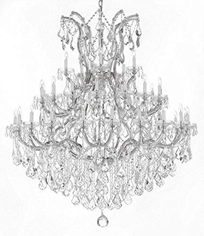 "Swarovski Crystal Trimmed Chandelier Large Foyer / Entryway Maria Theresa Crystal Chandelier Lighting H 60"" W 52"" - Gb104-Silver/B12/2756/36+1Sw"