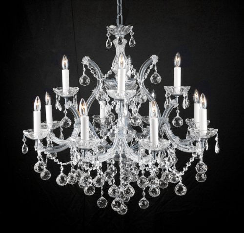 New Lighting Chandelier W/ Crystal Balls 28 X 30 - A83-Silver/Balls/21532/12+1