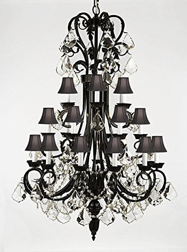 "Foyer / Entryway Wrought Iron Chandelier 50"" Inches Tall With Crystal And With Black Shades H50"" X W30"" Trimmed With Spectra (Tm) Crystal - Reliable Crystal Quality By Swarovski - A84-B12/Blackshades/724/24Sw"