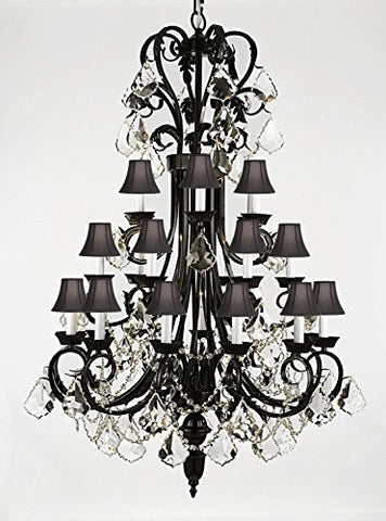 "Foyer / Entryway Wrought Iron Chandelier 50"" Inches Tall With Crystal And With Black Shades H50"" X W30"" - A84-B12/Blackshades/724/24"