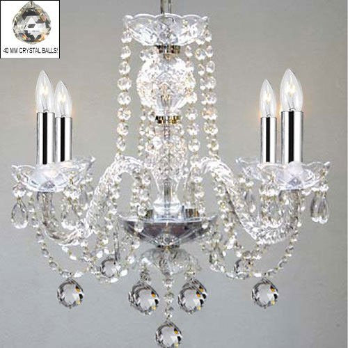 "Murano Venetian Style All Empress Crystal (Tm) Chandelier With Chrome Sleeves H17"" W17"" - G46-B43/B6/275/4"
