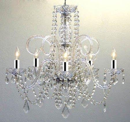 "SET OF 10 LARGE CRYSTAL CHANDELIERS LIGHTING W/CHROME SLEEVES! - EACH ONE IS 24"" X 25"" - SET OF 10 - A46-B43/385/5-SET OF 10"