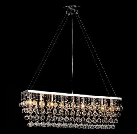 "Chandelier Light W/ Crystal Modern Contemporary ""Rain Drop"" Chandeliers Linear Pendant - F7-926/9"