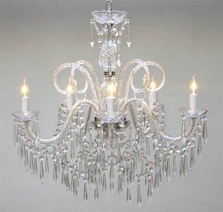 "New Murano Venetian Style All Crystal Chandelier H25"" X W24"" - A46-U/385/5"