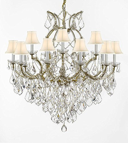 "Swarovski Crystal Trimmed Chandelier Maria Theresa Empress Crystal (Tm) Chandelier Lighting H 38"" W 37"" With White Shades - Sc/Whiteshade/21510/15+1Sw"