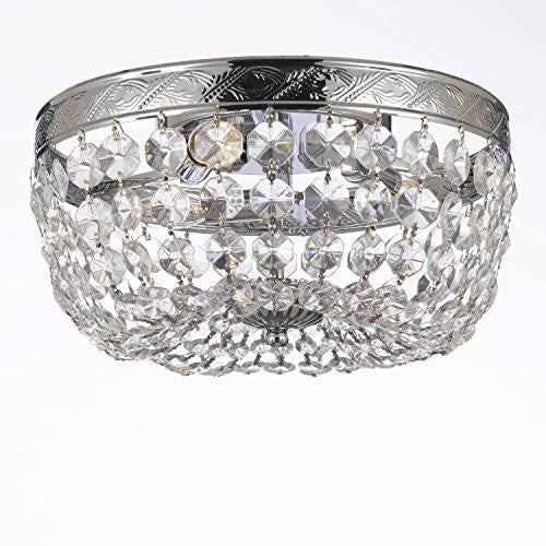 "French Empire Crystal Flush Basket Chandelier Lighting H5"" X W13"" - G93-Cs/1864/3"