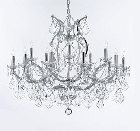 "Maria Theresa Chandelier Lighting Crystal Chandeliers H28 ""X W37"" Chrome Finish Great For The Dining Room Living Room Family Room Entryway / Foyer - A83-B62/Chrome/2527/15+1"