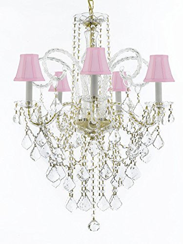 "Murano Venetian Style All-Crystal Chandelier Lighting With Pink Shades H30"" X W24"" - G46-Sc/Pinkshade/Cg/3/385/5"
