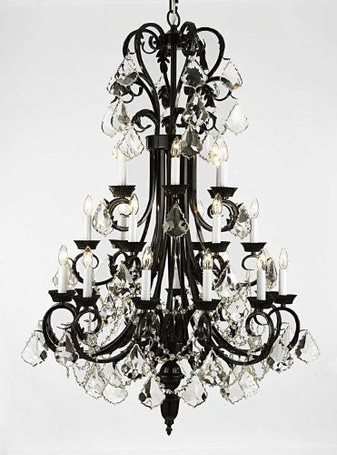 "Wrought Iron Chandelier 50"" Inches Tall With Crystal Trimmed With Spectra (Tm) Crystal - Reliable Crystal Quality By Swarovski - A84-B12/724/24Sw"