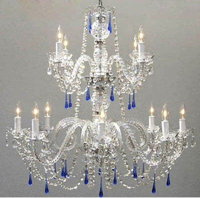 Authentic All Crystal Chandelier With Blue Crystals - A46-387/8+4/Blue