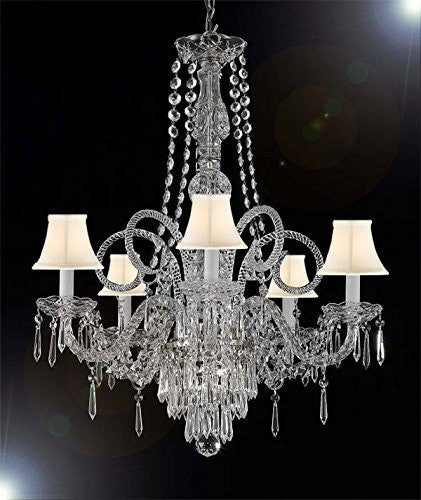 "New Crystal Chandelier Murano Venetian Style Chandeliers Lighting 24""X28"" With White Shades - Cjd-Whiteshades/Silver/20048/5"