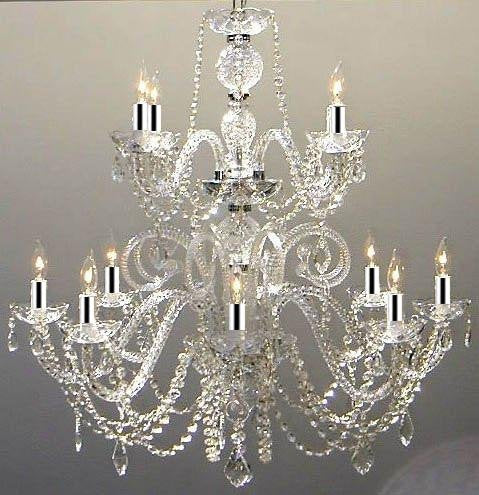 Authentic All Crystal Chandelier Lighting Chandeliers with Chrome Sleeves! H30 X W28 - GO-A46-B43/385/8+4