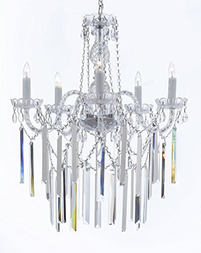 "Authentic All Empress Crystal (Tm) Chandelier Lighting Optical-Quality Fringe Prisms H30"" X W24"" - G46-B40/3/384/5"
