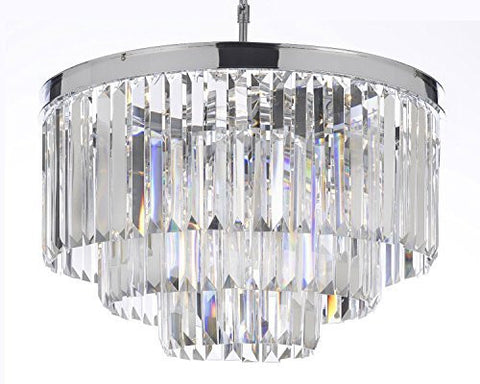 "Palladium Empress Crystal (Tm) Glass Fringe 3-Tier Chandelier Lighting Chrome Finish H 21.5"" W 19.75"" - G7-2164/9"