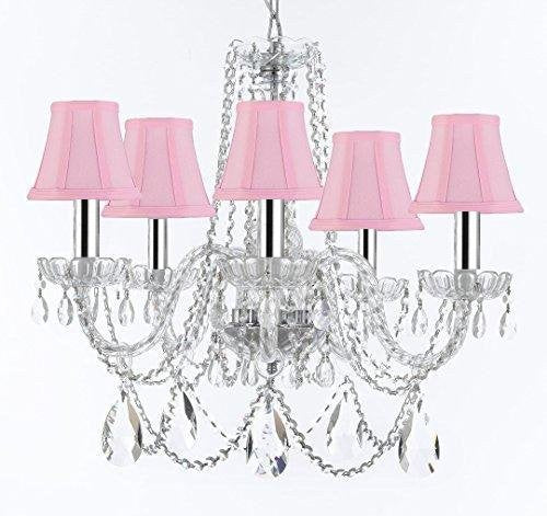 "Murano Venetian Style Chandelier Crystal Lights Fixture Pendant Ceiling Lamp for Dining Room, Bedroom, Living Room with Large, Luxe, Diamond Cut Crystals w/Chrome Sleeves! H25"" X W24"" w/Pink Shades - A46-B43/PINKSHADES/B93/B89/384/5DC"