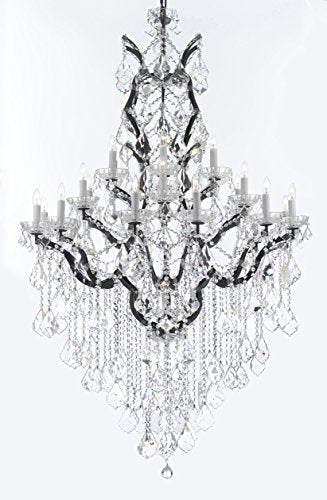 "Swarovski Crystal Trimmed 19th C. Rococo Iron & Crystal Chandelier Lighting H 64"" W 41"" - Dressed With Large, Luxe Crystals! Good for Dining room, Foyer, Entryway, Living Room, Family Room! - G83-B12/B89/996/25SW"