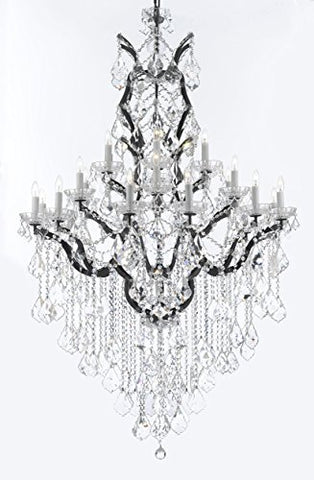 "19th C. Rococo Iron & Crystal Chandelier Lighting H 64"" W 41"" - Dressed With Large, Luxe Crystals! Good for Dining room, Foyer, Entryway, Living Room, Family Room! - G83-B12/B89/996/25DC"