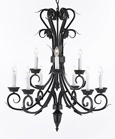 "Wrought Iron Chandelier H 30"" W 26"" 9 Lights - A84-724/6+3"