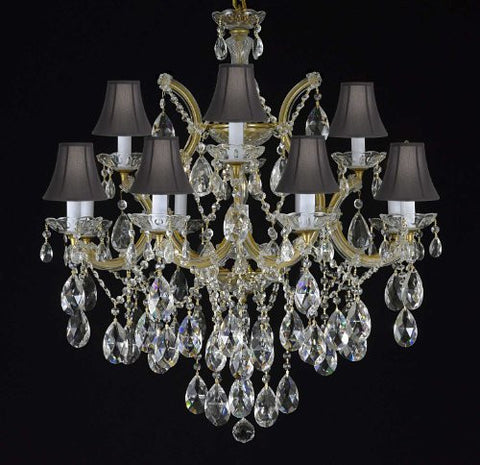 "Maria Theresa Chandelier Crystal Lighting Chandeliers With Shades H30"" X W28"" - F83-Blackshades/21532/12+1"