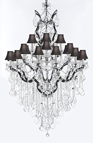 "19th C. Rococo Iron & Crystal Chandelier Lighting H 64"" W 41"" - Dressed With Large, Luxe Crystals! Good for Dining room, Foyer, Entryway, Living Room, Family Room! w/ Black Shades - G83-B12/B89/996/25DC-BlackShades"