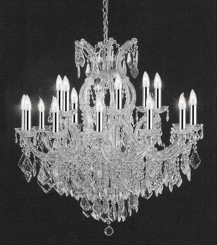 "Empress Crystal (Tm) Chandelier Lighting Crystal Chandeliers With Chrome Sleeves Ht 38""Xwd37 16 Lights - A83-B43/Silver/1/2151015+1"