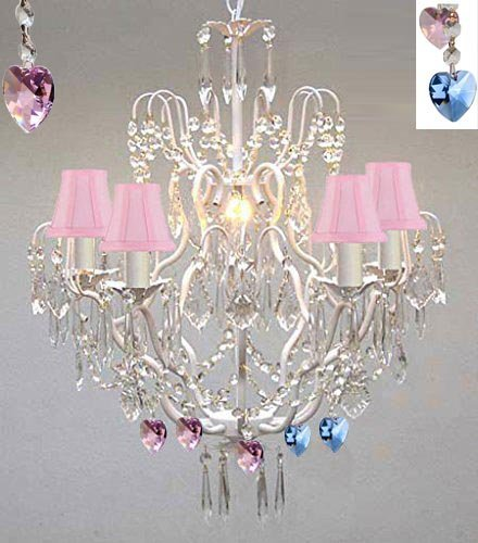 Wrought Iron & Crystal Chandelier Authentic Empress Crystal(Tm) Chandelier Lighting Chandeliers With Blue And Pink Hearts Nursery Kids Girls Bedrooms Kitchen Etc. With Pink Shades - J10-Pinkshades/White/B85/B21/C/26025/5