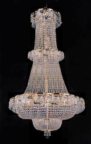 "Swarovski Crystal Trimmed Chandelier French Empire Crystal Chandelier Lighting H 50"" W30"" - Perfect For An Entryway Or Foyer - A93-928/21Sw"