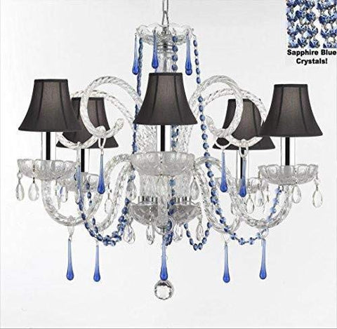 "AUTHENTIC ALL CRYSTAL CHANDELIER CHANDELIERS LIGHTING WITH SAPPHIRE BLUE CRYSTALS AND BLACK SHADES! PERFECT FOR LIVING ROOM, DINING ROOM, KITCHEN, KID'S BEDROOM W/CHROME SLEEVES! H25"" W24"" - G46-B43/B82/BLACKSHADES/387/5"