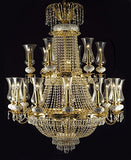 "Swarovski Crystal Trimmed Chandelier French Empire Crystal Chandelier Lighting W 40"" X H 50"" - A81-519/21+7Sw"
