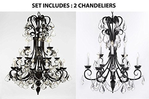 "Set Of 2 - 1-Wrought Iron Chandelier 50"" Inches Tall With Crystal H50"" X W30"" And 1-Wrought Iron Empress Crystal (Tm) Chandelier 30"" Inches Tall With Crystal H 30"" X W 26"" - 1Ea-B12//724/24+1Ea-B12/724/6+3"