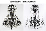 "Set Of 2 - 1-Wrought Iron Chandelier 50"" Inches Tall With Crystal And Crystal Chandelier 30"" Inches Tall With Crystal Trimmed With Spectra (Tm) Crystal - Reliable Crystal Quality By Swarovski - 1Ea-B12/724/24Sw+1Ea-B12/724/6+3Sw"